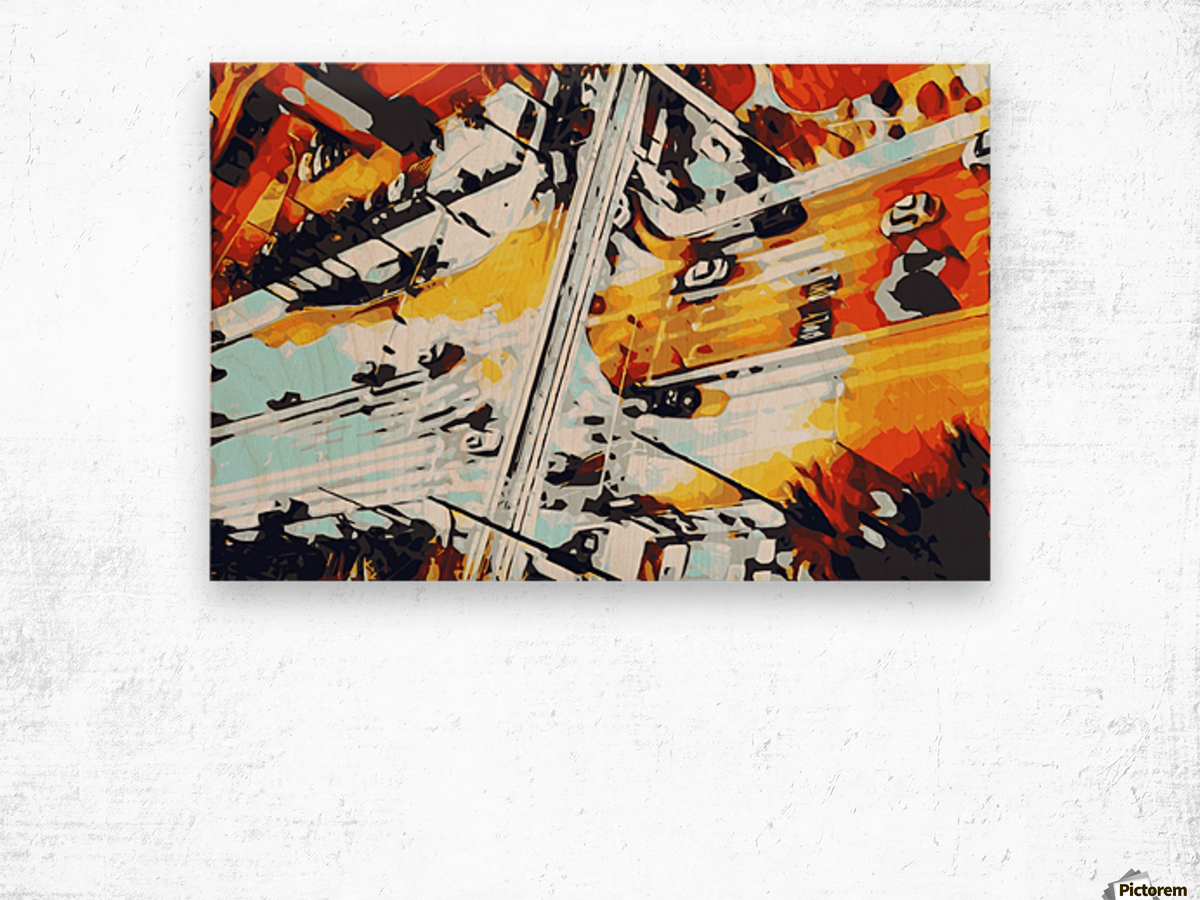 road in the city geometric abstract background Wood print