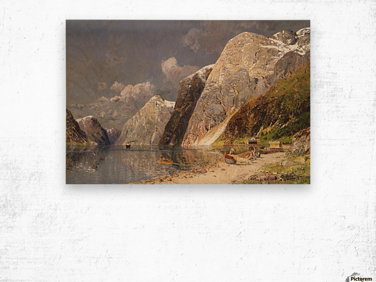 A river crossing the mountains Wood print