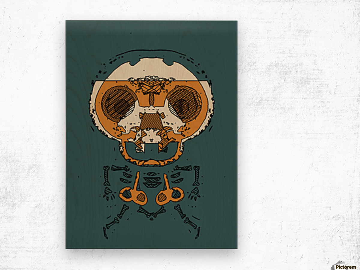 orange and brown skull and bone graffiti drawing with green background Wood print