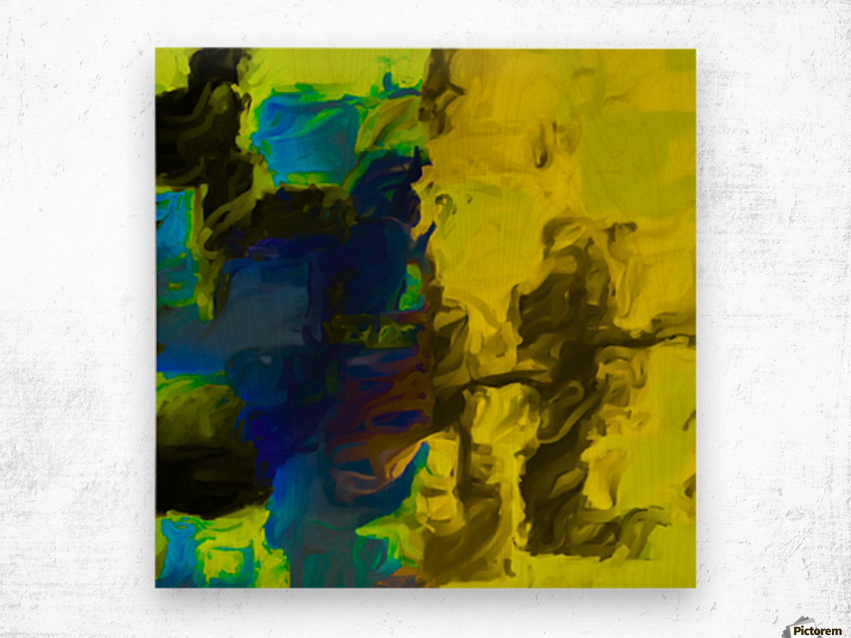 psychedelic splash painting abstract in yellow blue and black Wood print