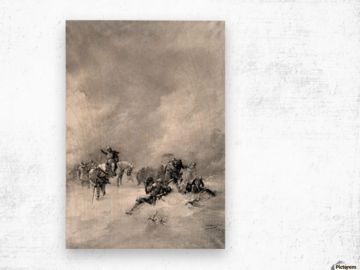 A pack of hunters in winter Wood print
