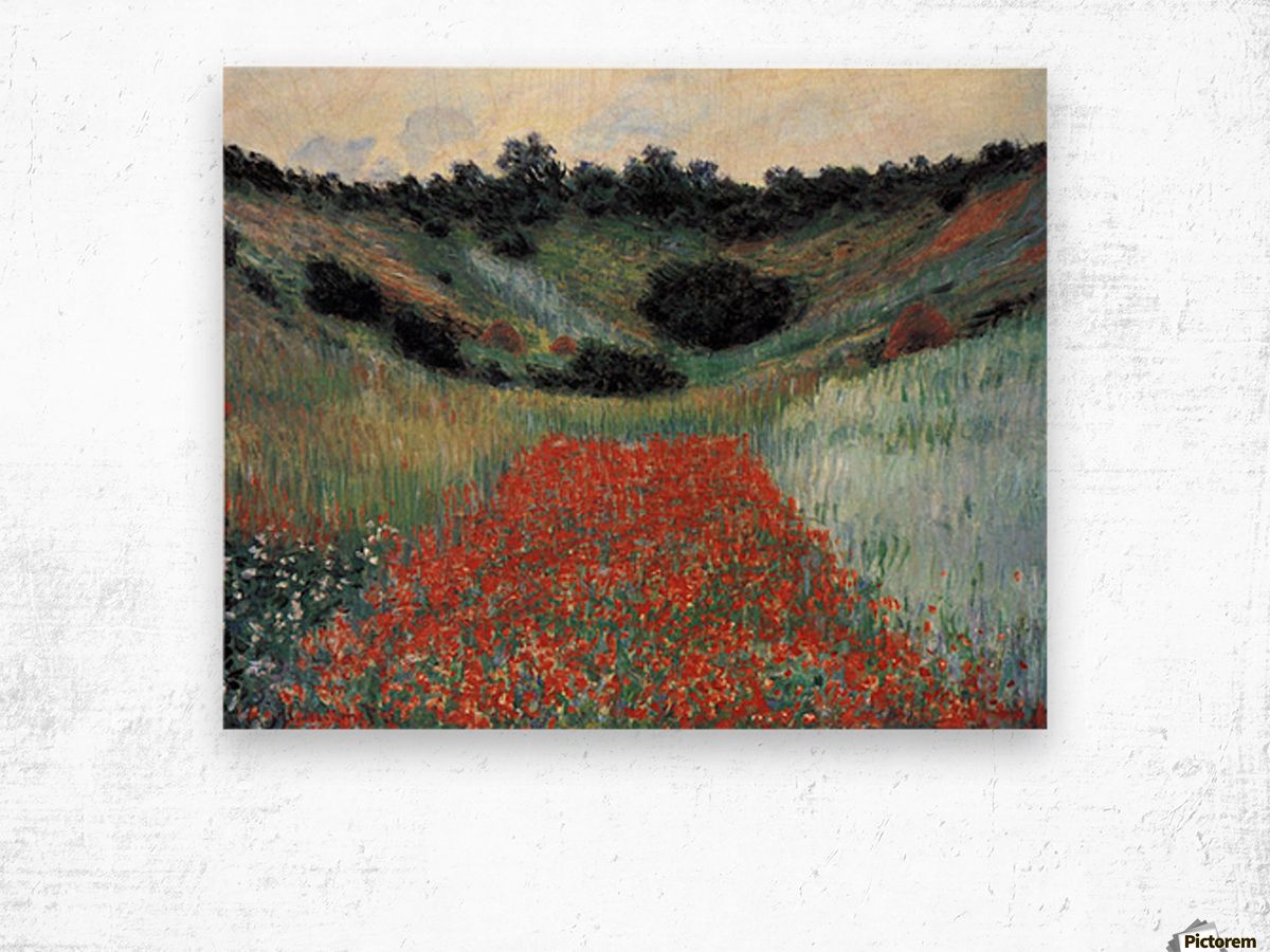 Poppy field in Giverny by Monet Wood print