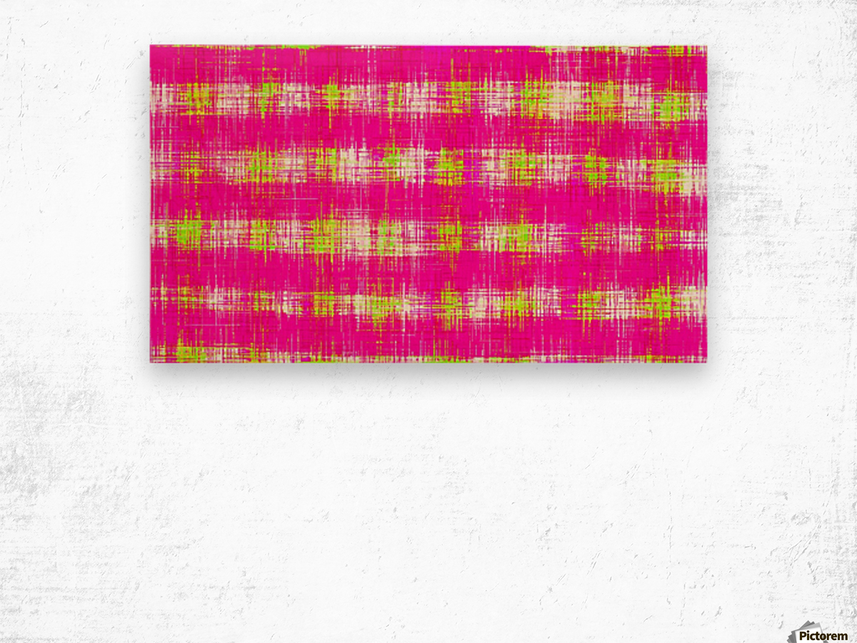 plaid pattern graffiti painting abstract in pink and yellow Wood print
