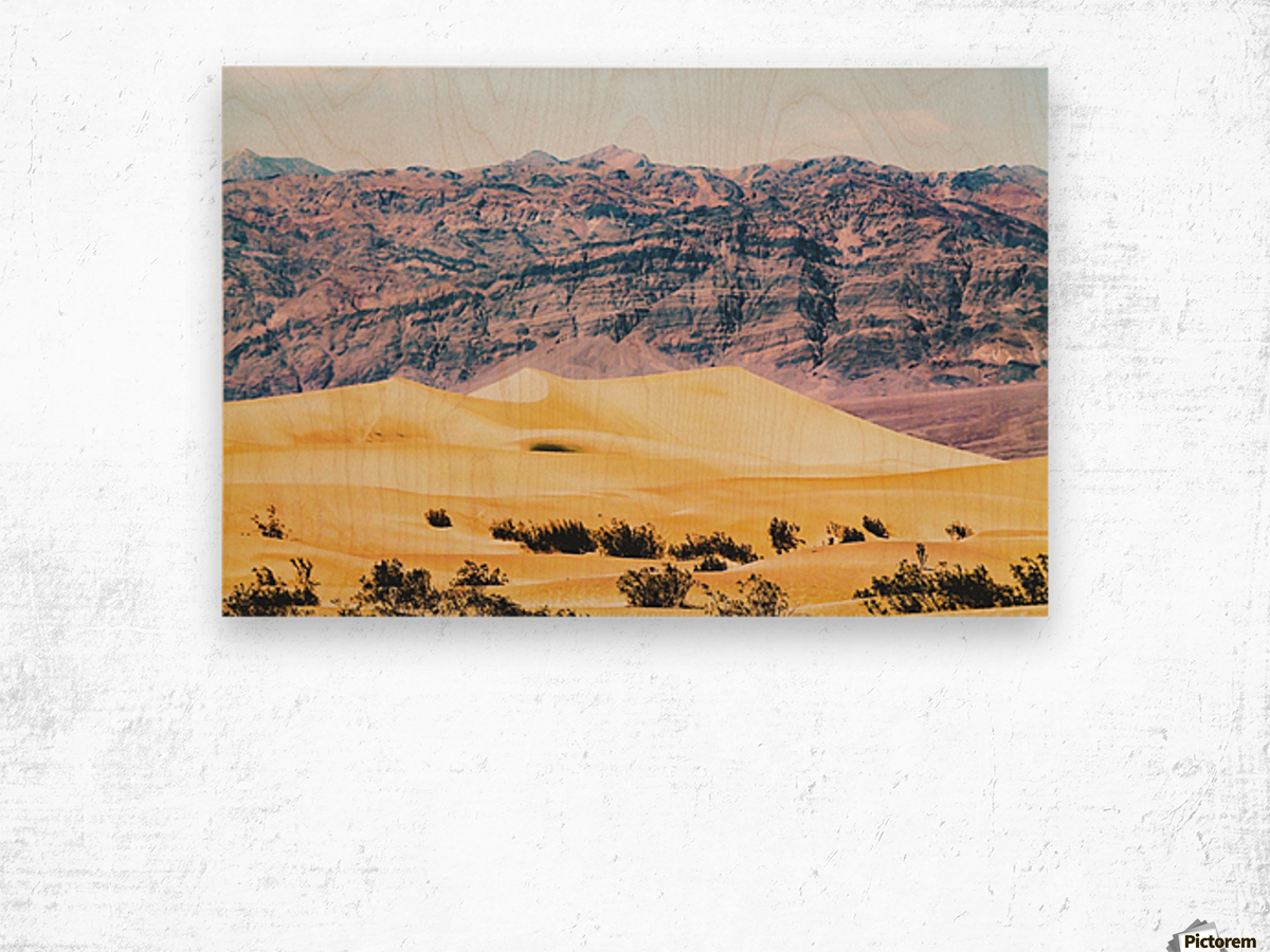 sand desert with mountain background at Death Valley national park, USA Wood print