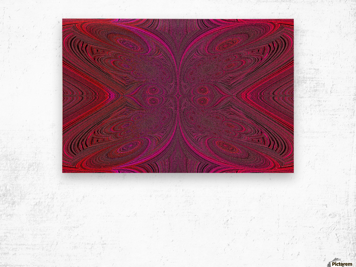 Digital Butterfly Pink Red  Wood print