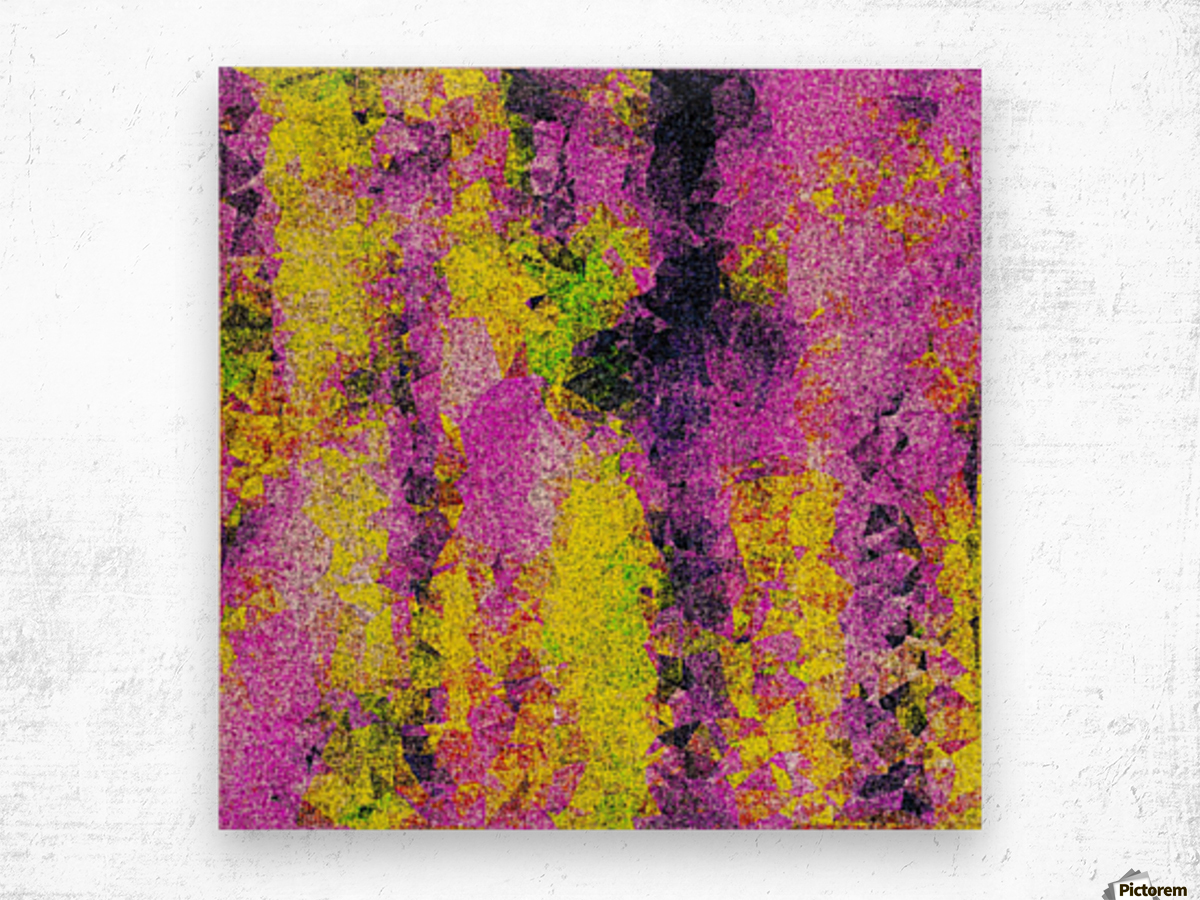 vintage psychedelic painting texture abstract in pink and yellow with noise and grain Wood print