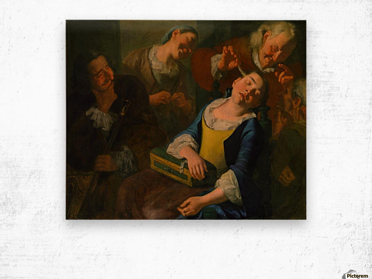 Teasing a sleeping girl Wood print